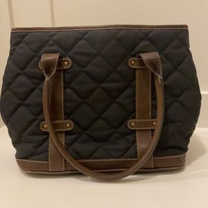 JCREW QUILTED COTTON & LEATHER TOTE